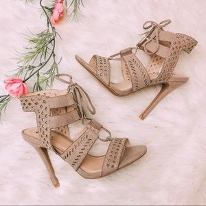 Shoes - Taupe Strappy Faux Suede Heels